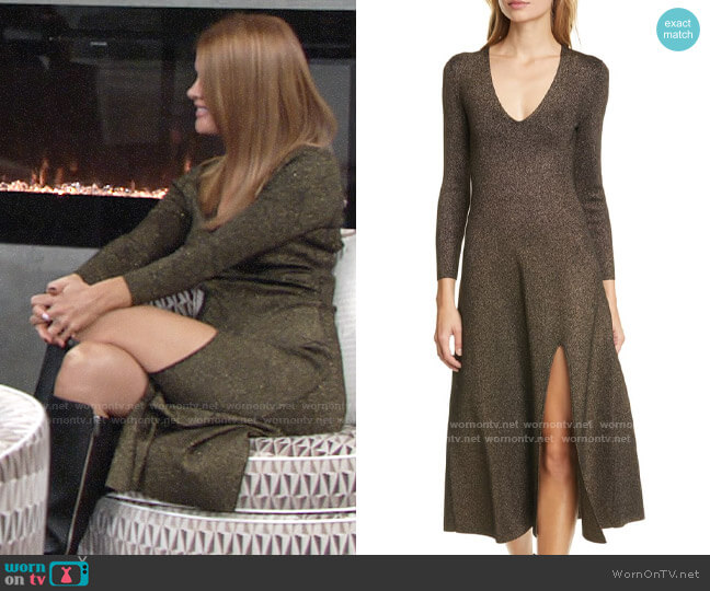 ALC Serafina Metallic Knit Midi Dress worn by Phyllis Summers (Michelle Stafford) on The Young & the Restless