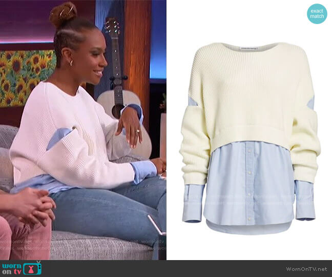 Mixed-Media Cotton Poplin Ribbed Top by Alexander Wang worn by Ryan Bathe on The Kelly Clarkson Show