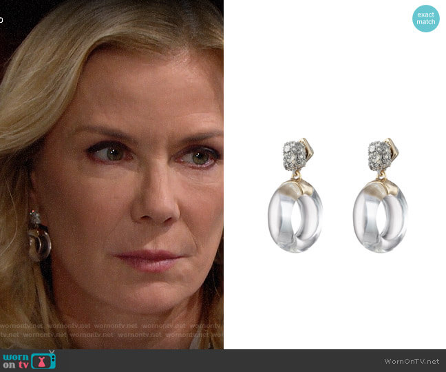 Alexis Bittar Domed Drop Circle Post Earrings worn by Brooke Logan (Katherine Kelly Lang) on The Bold & the Beautiful