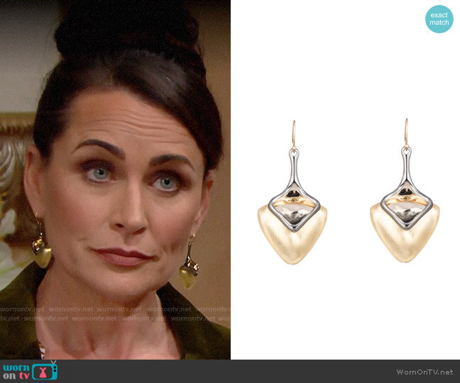 Alexis Bittar Two Tone Sculptural Drop Earrings worn by Quinn Fuller (Rena Sofer) on The Bold & the Beautiful