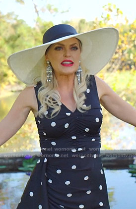 Alexis's black polka dot ruched dress on Dynasty