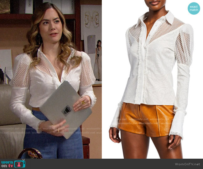 Alexis Virginia Lace Ruffle Top worn by Hope Logan (Annika Noelle) on The Bold & the Beautiful
