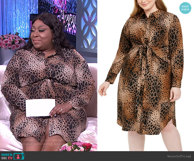 Plus Size Printed Tie-Front Shirtdress by Alfani worn by Loni Love  on The Real
