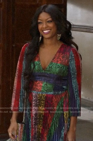 Ali's rainbow snake print pleated dress on God Friended Me