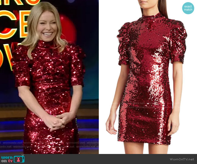 Brenna Sequin Dress by Alice + Olivia worn by Kelly Ripa  on Live with Kelly & Ryan