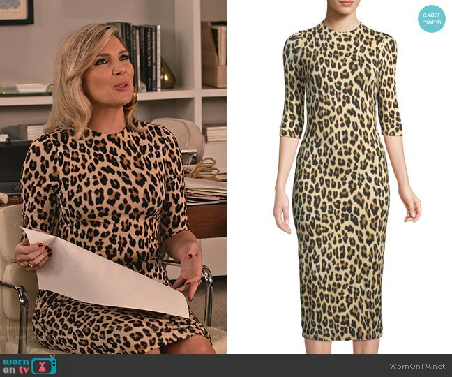 Delora Leopard Dress by Alice + Olivia worn by Brianna (June Raphael) on Grace & Frankie