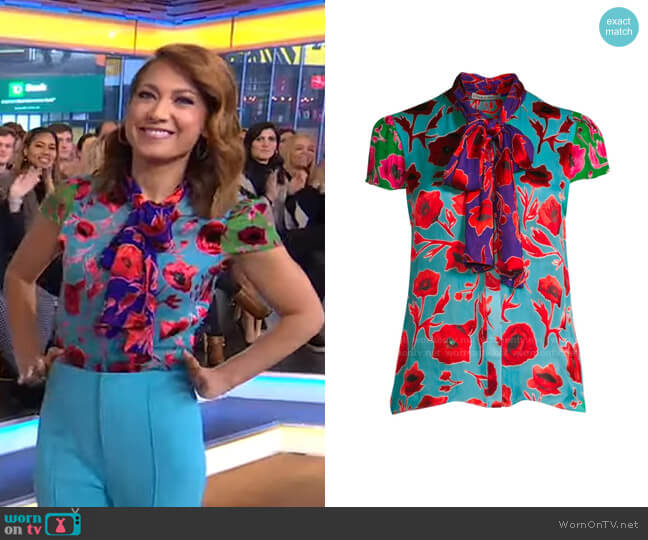 Jeannie Top by Alice + Olivia worn by Ginger Zee  on Good Morning America