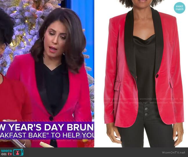 Macey Velvet Blazer by Alice + Olivia worn by Cecilia Vega  on Good Morning America