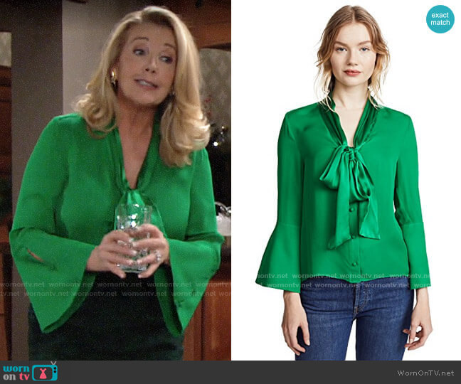 Alice + Olivia Meridith Blouse worn by Nikki Reed Newman (Melody Thomas-Scott) on The Young & the Restless