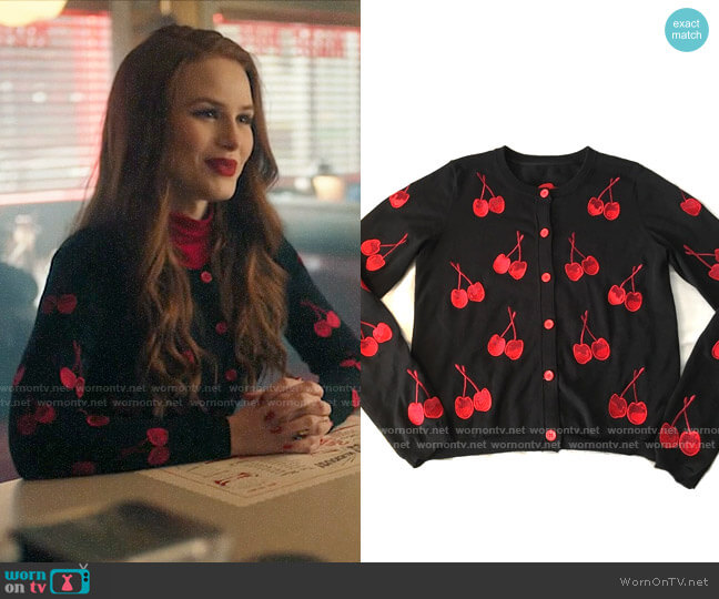 Alice + Olivia Cherry Cardigan worn by Cheryl Blossom (Madelaine Petsch) on Riverdale