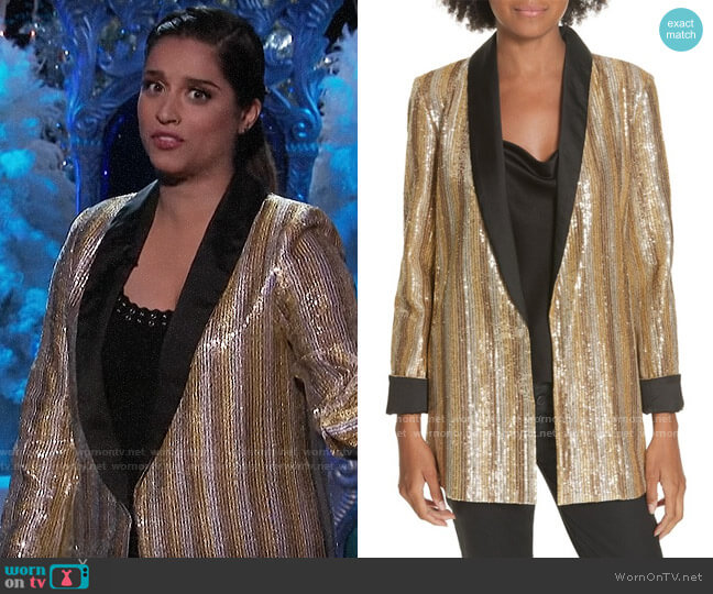 Alice + Olivia Jace Blazer worn by Lilly Singh  on A Little Late with Lilly Singh