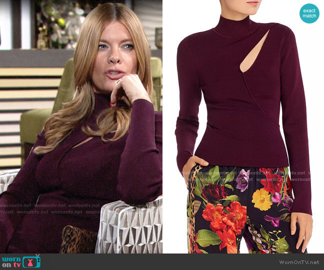 Alice + Olivia Sophie Cutout Turtleneck Top worn by Phyllis Summers (Michelle Stafford) on The Young & the Restless