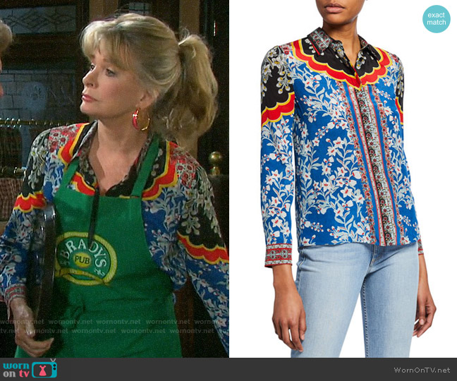 Alice + Olivia Willa Floral Blouse worn by Hattie Adams (Deidre Hall) on Days of our Lives