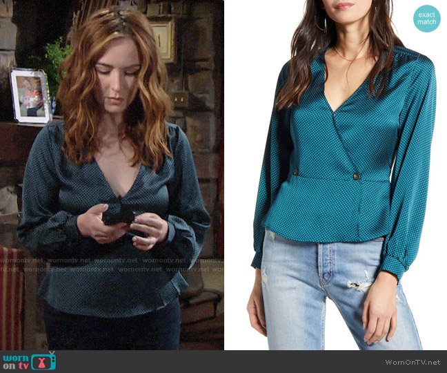 All in Favor Satin Button Peplum Top worn by Mariah Copeland (Camryn Grimes) on The Young & the Restless