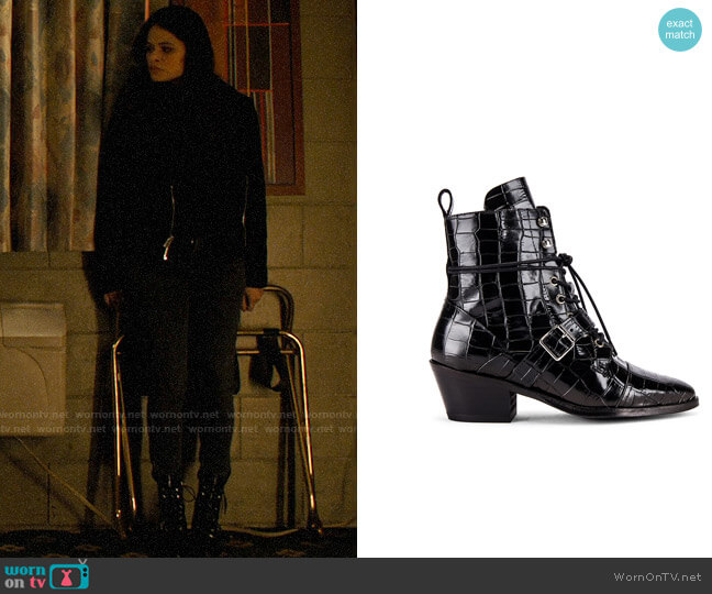 All Saints Katy Croco Bootie worn by Mel Vera (Melonie Diaz) on Charmed