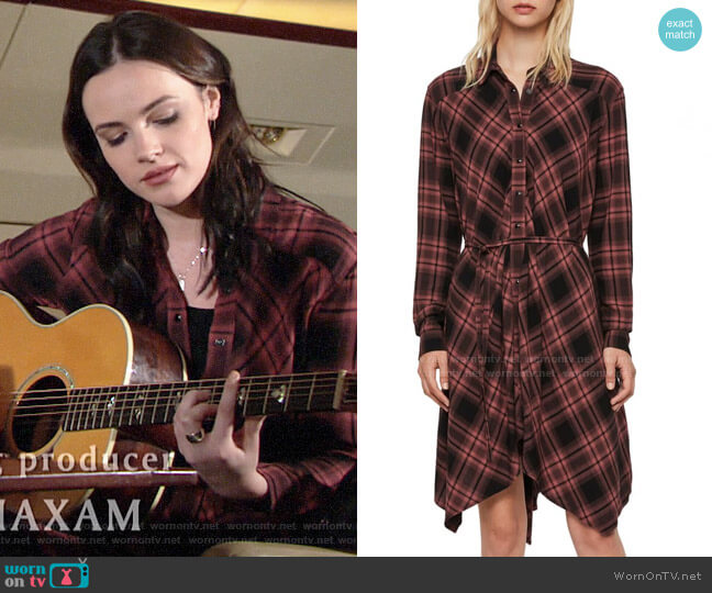 All Saints Tala Check Dress worn by Tessa Porter (Cait Fairbanks) on The Young & the Restless
