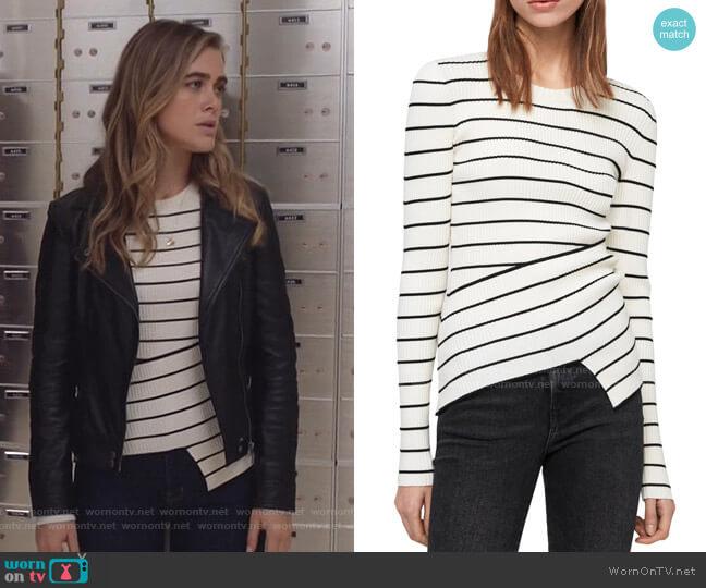 Amara Stripe Sweater by All Saints worn by Michaela Stone (Melissa Roxburgh) on Manifest