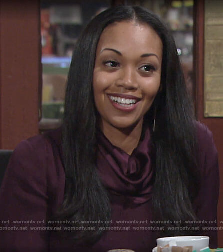 Amanda's purple cowl neck blouse on The Young and the Restless