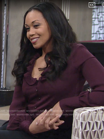 Amanda's purple ruffled button-front blouse on The Young and the Restless