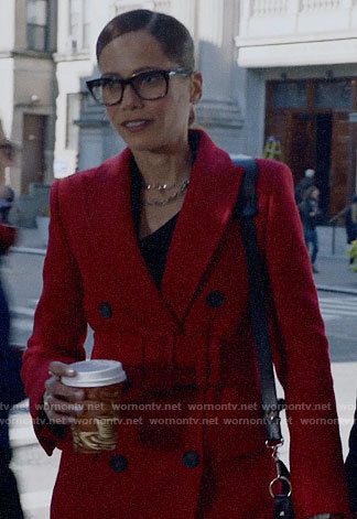 Amanda's red belted coat on Almost Family