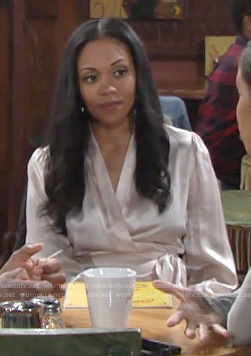 Amanda's wrap blouse on The Young and the Restless