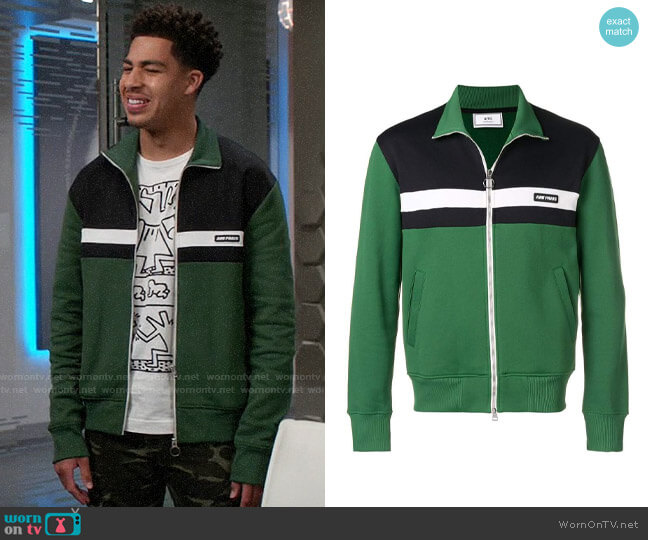Ami Paris Patch Zipped Sweatshirt worn by Andre Johnson Jr (Marcus Scribner) on Blackish