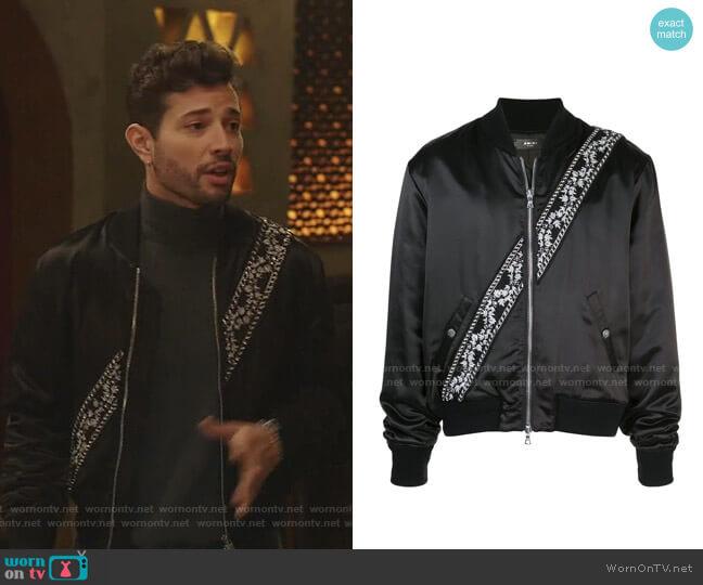 Contrast Stripe Bomber Jacket by Amiri worn by Sam Flores (Rafael de la Fuente) on Dynasty