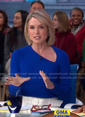 Amy's blue asymmetric top and white pants on Good Morning America