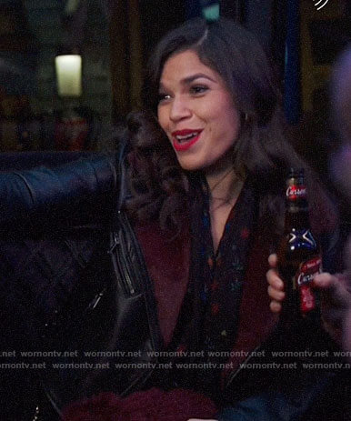 Amy's leather jacket with red fur on Superstore