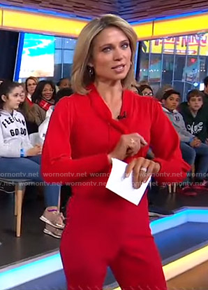 Amy's red tie neck sweater and pants on Good Morning America