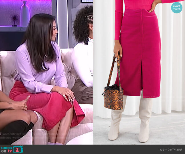 Corduroy Front Split Midi Skirt by & Other Stories worn by Jeannie Mai  on The Real