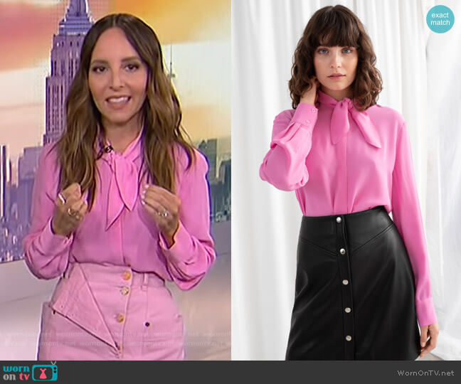 Satin Pussy Bow Blouse by & Other Stories worn by Lilliana Vazquez  on E! News