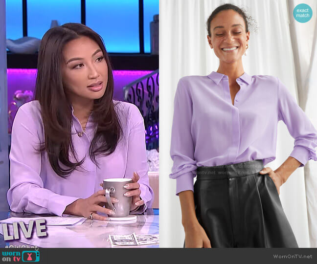 Straight Fit Silk Shirt by & Other Stories worn by Jeannie Mai  on The Real