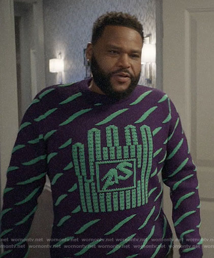 Andre's purple and green patterned sweater on Black-ish