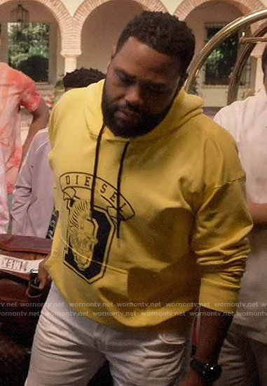 Andre's yellow DIESEL hoodie on Black-ish