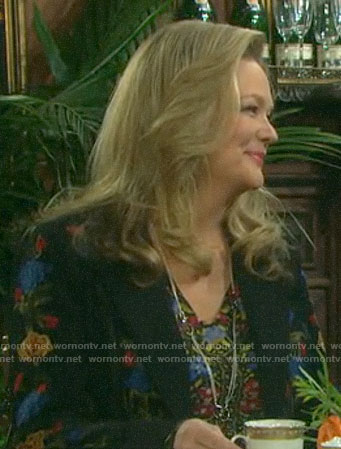 Anna's black floral embroidered blazer on Days of our Lives