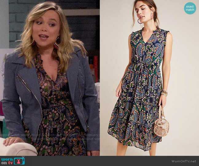 Anthropologie Elmira Ruffled Midi Dress worn by Kristin Baxter (Amanda Fuller) on Last Man Standing
