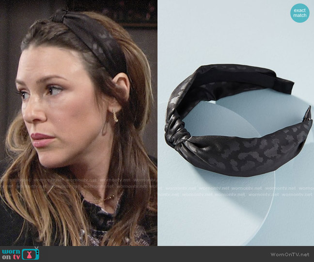 Anthropologie Leopard-Printed Knotted Headband worn by Chloe Mitchell (Elizabeth Hendrickson) on The Young & the Restless