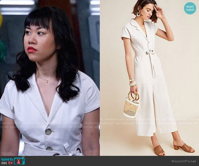 Anthropologie Elizabeth Wide Leg Jumpsuit worn by Mona Wu (Ramona Young) on Legends of Tomorrow