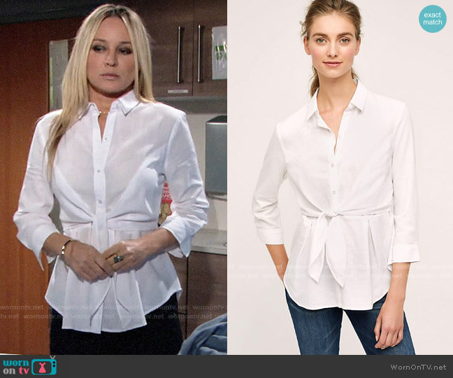 Anthropologie HD in Paris Tie Front Buttondown worn by Sharon Collins (Sharon Case) on The Young & the Restless
