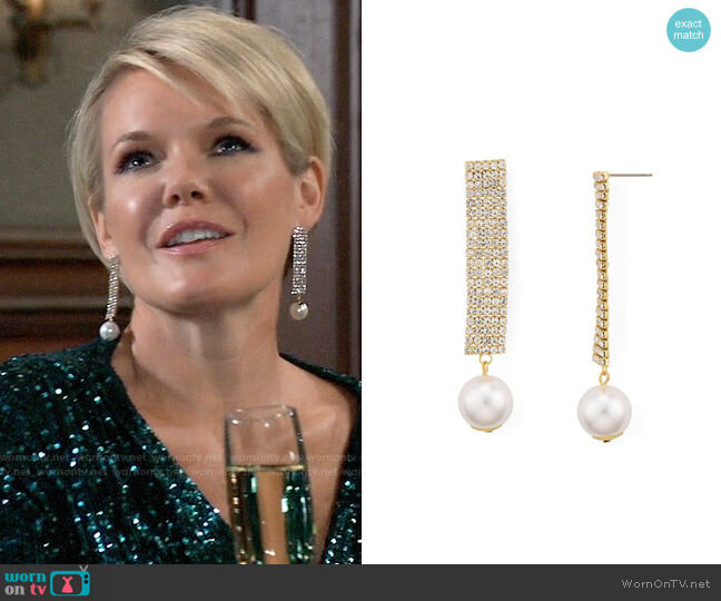 Aqua Crystal & Simulated Pearl Drop Earrings worn by Ava Jerome (Maura West) on General Hospital