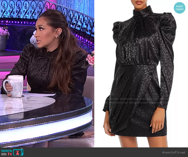 Puff-Sleeve Leopard-Pattern Dress by Aqua worn by Adrienne Houghton  on The Real