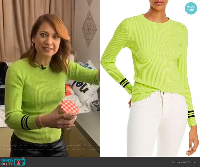 Striped-Cuff Sweater by Aqua worn by Ginger Zee  on Good Morning America