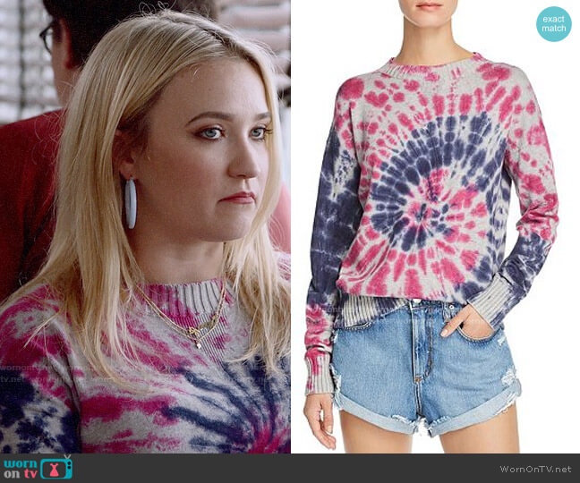 Aqua Tie-Dye Crewneck Sweater worn by Roxy Doyle (Emily Osment) on Almost Family