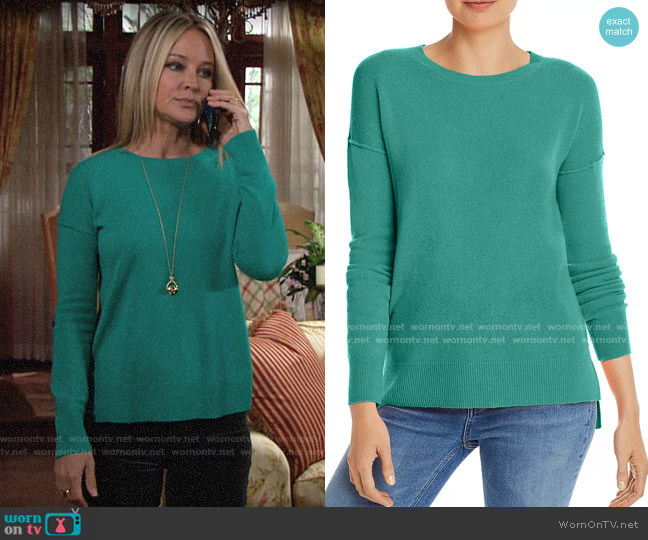 Aqua High/Low Cashmere Sweater worn by Sharon Collins (Sharon Case) on The Young & the Restless