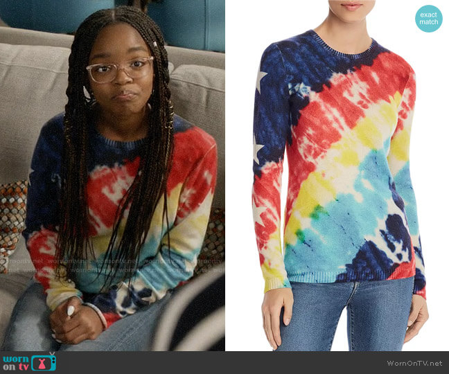Aqua Tie-Dye Star-Sleeve Cashmere Sweater worn by Diane Johnson (Marsai Martin) on Blackish
