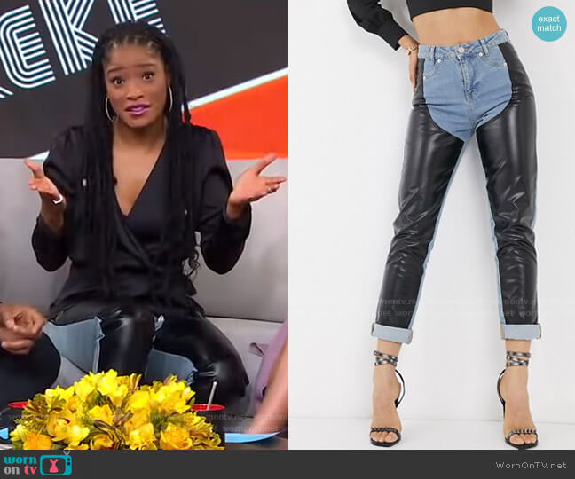 Jeans with Faux Leather Chaps by Asos worn by Keke Palmer  on Good Morning America