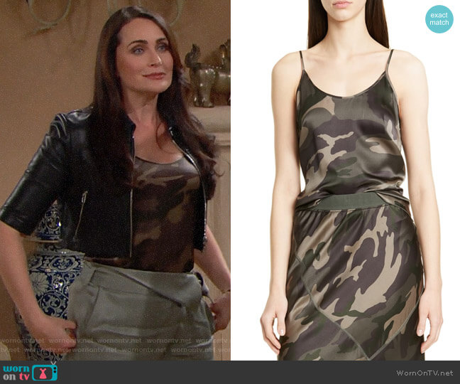 ATM Anthony Thomas Melillo Camo Print Silk Camisole worn by Quinn Fuller (Rena Sofer) on The Bold & the Beautiful