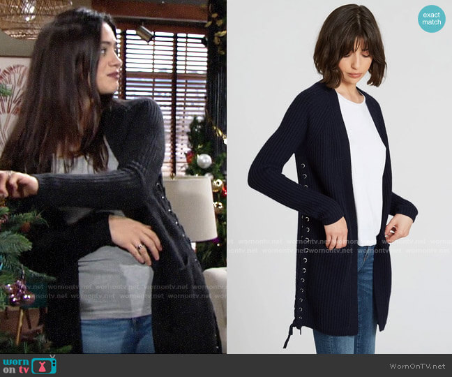 Autumn Cashmere  Shaker Cardigan with Side Lacing worn by Lola Rosales (Sasha Calle) on The Young & the Restless