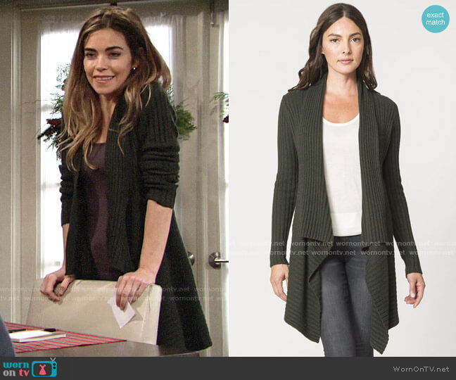 Autumn Cashmere Rib Drape in Cypress worn by Victoria Newman (Amelia Heinle) on The Young & the Restless